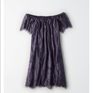 NWT AE All-Over Lace Off-the-Shoulder Shift Dress